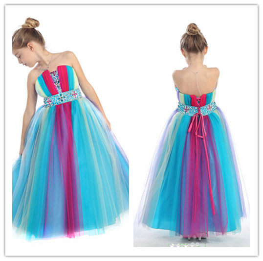 New Design Chiffon Floor Length Sleeveless Strapless Lace up Beaded A-Line Rainbow Flower Girls Dress (MQ1013)