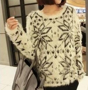 Snow Pattern Mohair Girl Sweater (BTQ002)