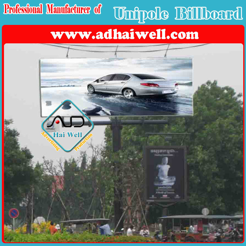Two Faces Unipole Outdoor Advertising Equipment Billboard