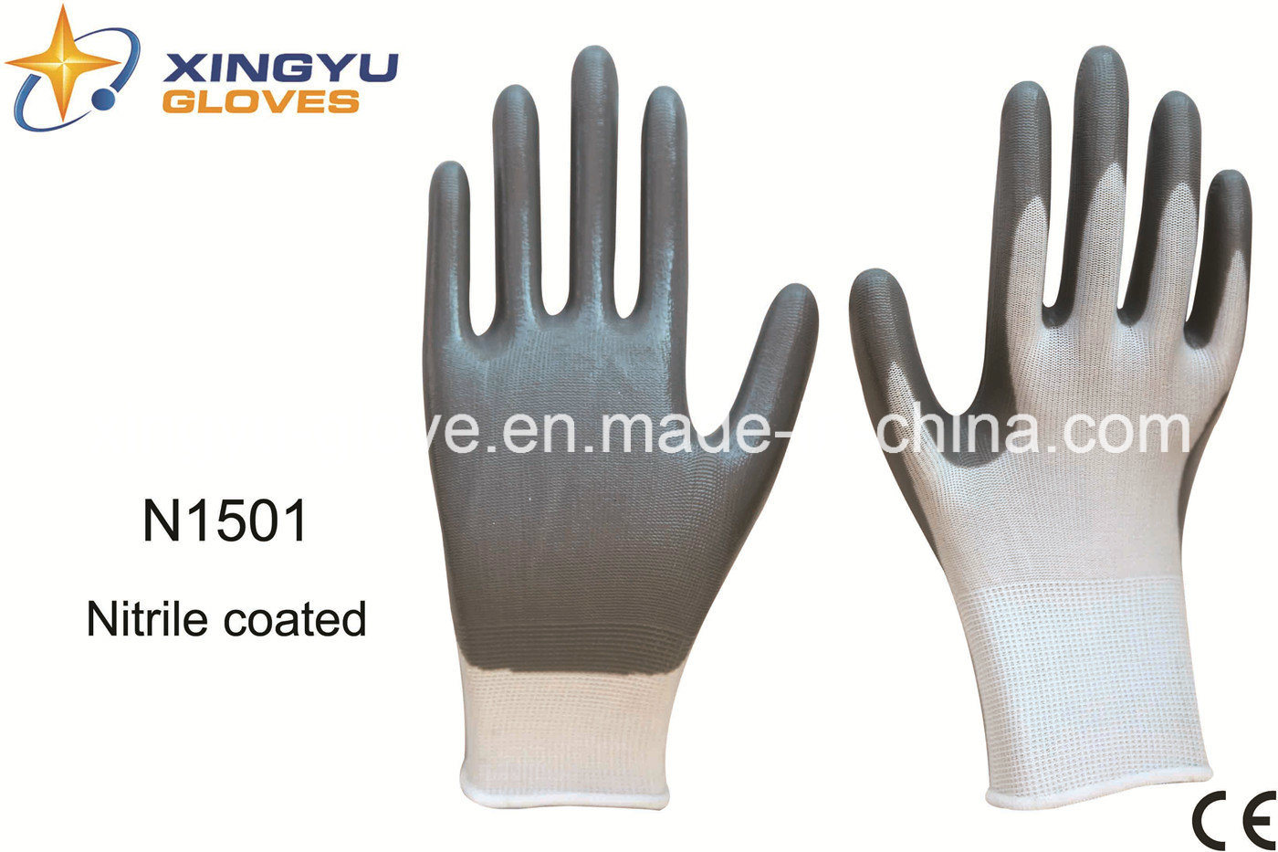 Polyester Shell Nitrile Coated Safety Work Gloves (N1501)