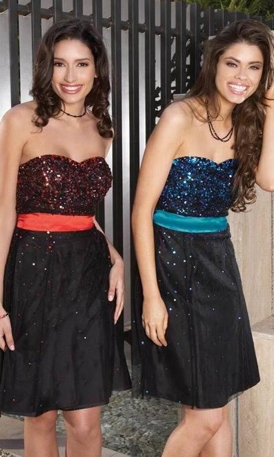 Red or Blue Sequin Black Short Evening Wear (ED3021)