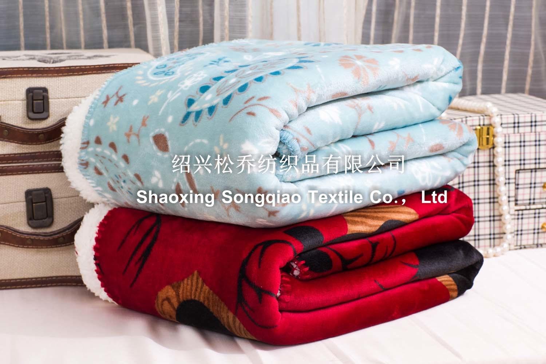 Polyester Printed Sherpa Fleece Blanket /Baby Blanket Elk