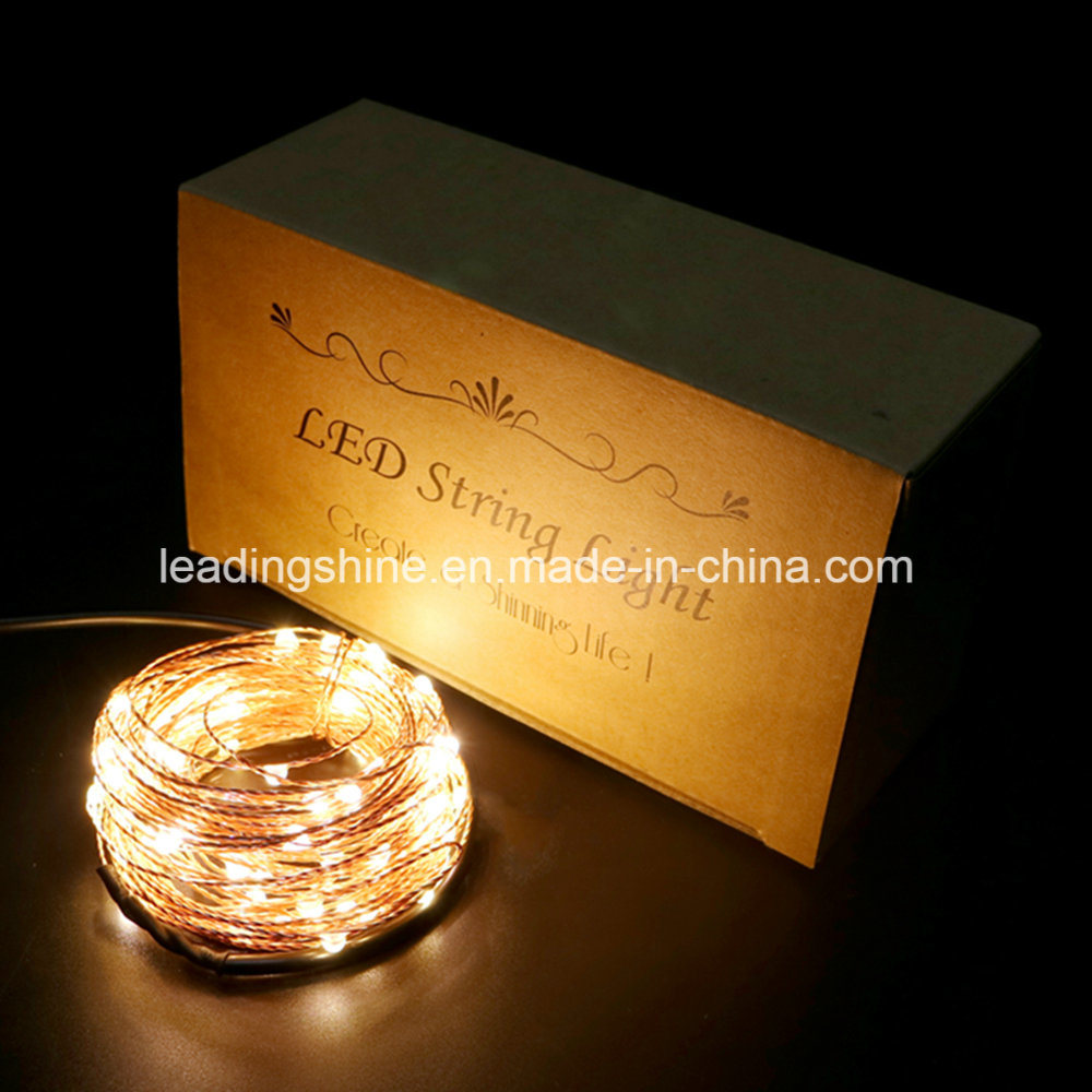 Copper Wire Waterproof Remote Control Dimmable LED Warm White String Lights DC12 V