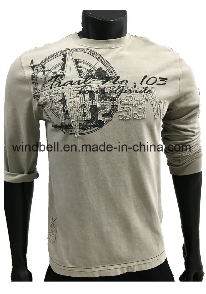 Hot Saler Vintage Garment Dyeing Pullover for Men with Embroidery