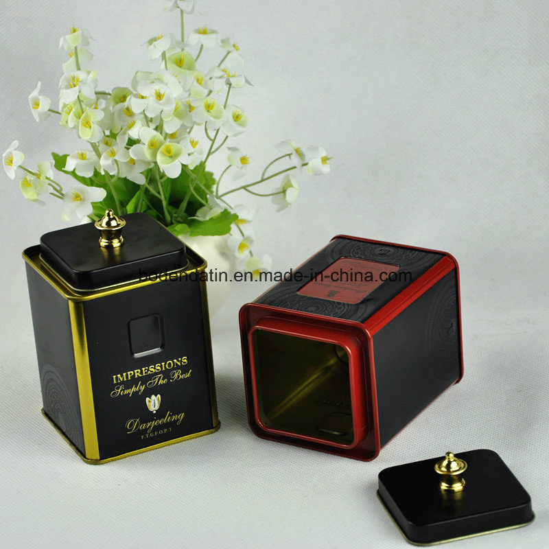 Custom Square Cookie Tin Can with Handle