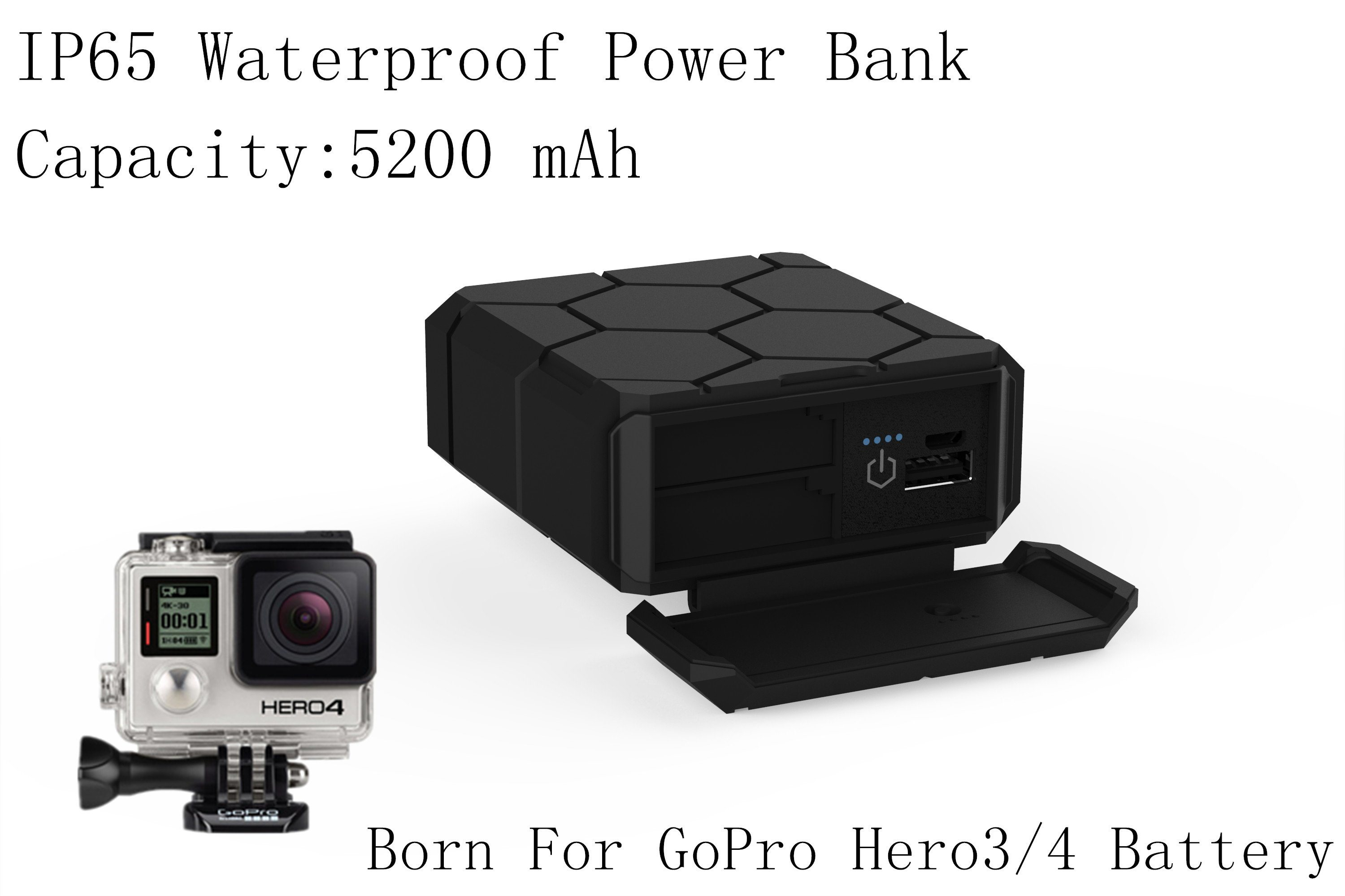 Battery Charger for Gopro Hero3/4 Accessories Rechargeable Power Bank 5200mAh