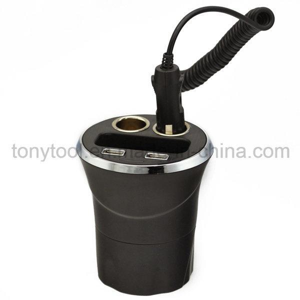 12V 2 USB Ports Cup Car Cigarette Lighter with 2 Socket