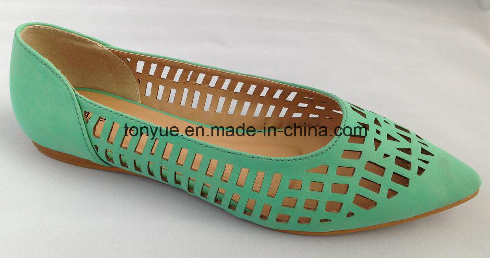 Lady Leather Shoe Laser Pointed Comfortable Flat