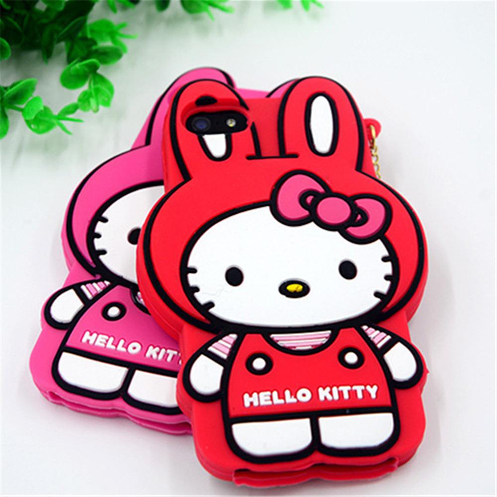 Hello Kitty Cat Shape Cute 3D Silicon Phone Case