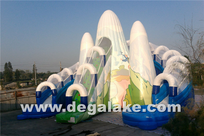Inflatable Snow Mountain Dual Lane Water Slide with Inner Tube