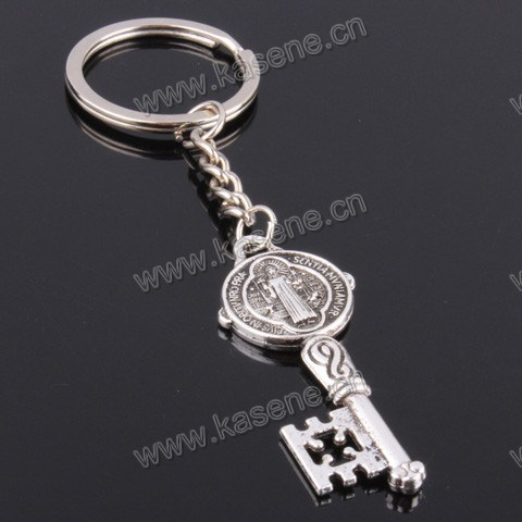 China Factory Zinc Alloy Catholic Souvenir St. Benedict Fashion Religious Keychain