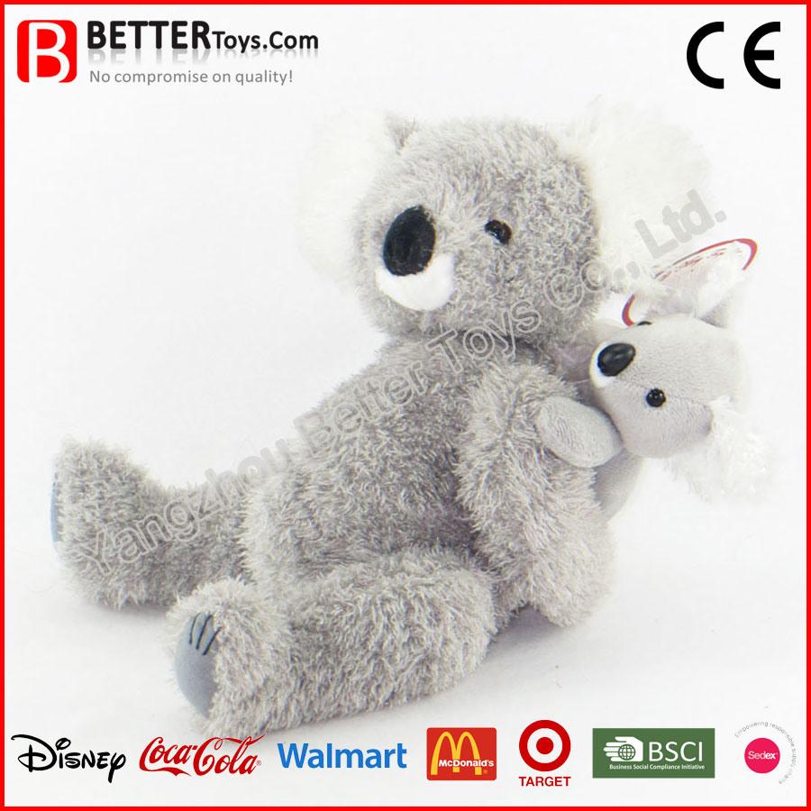 Stuffed Animal Soft Koala Mother with Joey on Back Plush Koala Toy