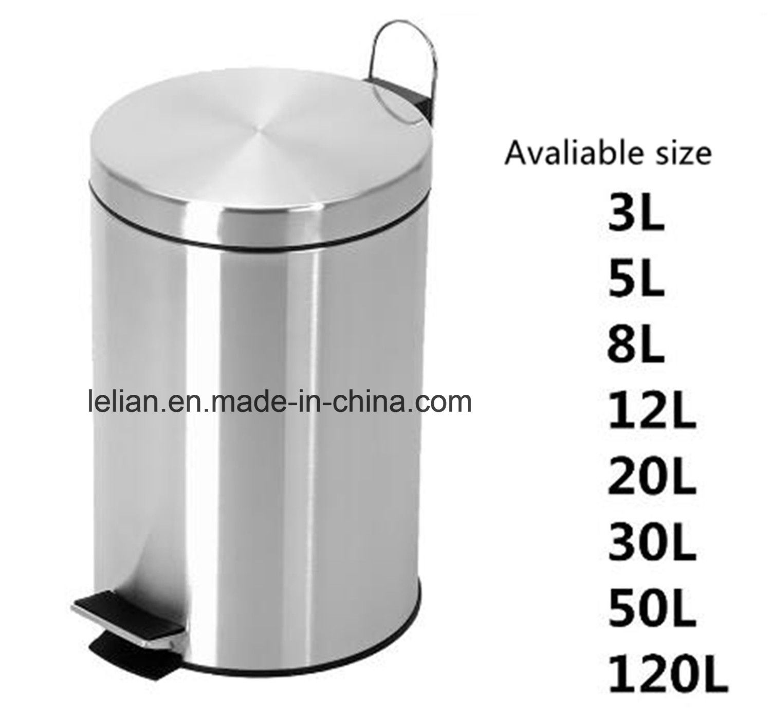 3L to 120L Stainless Steel Rubbish Can, Trash Bin