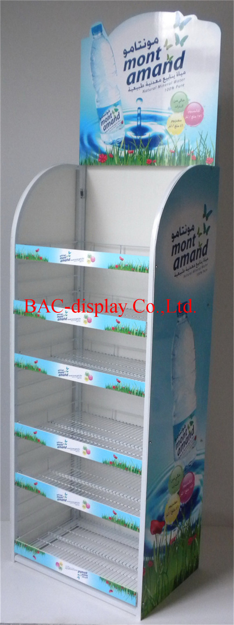 Retail Display Stand for Mineral Water Bottle Promotion