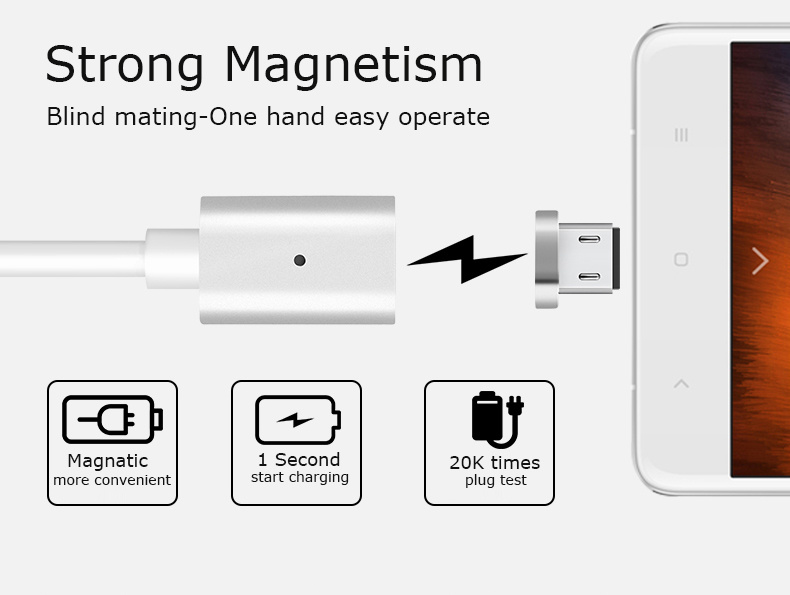 Magnet USB Phone Cable for Samsung iPhone 8pin