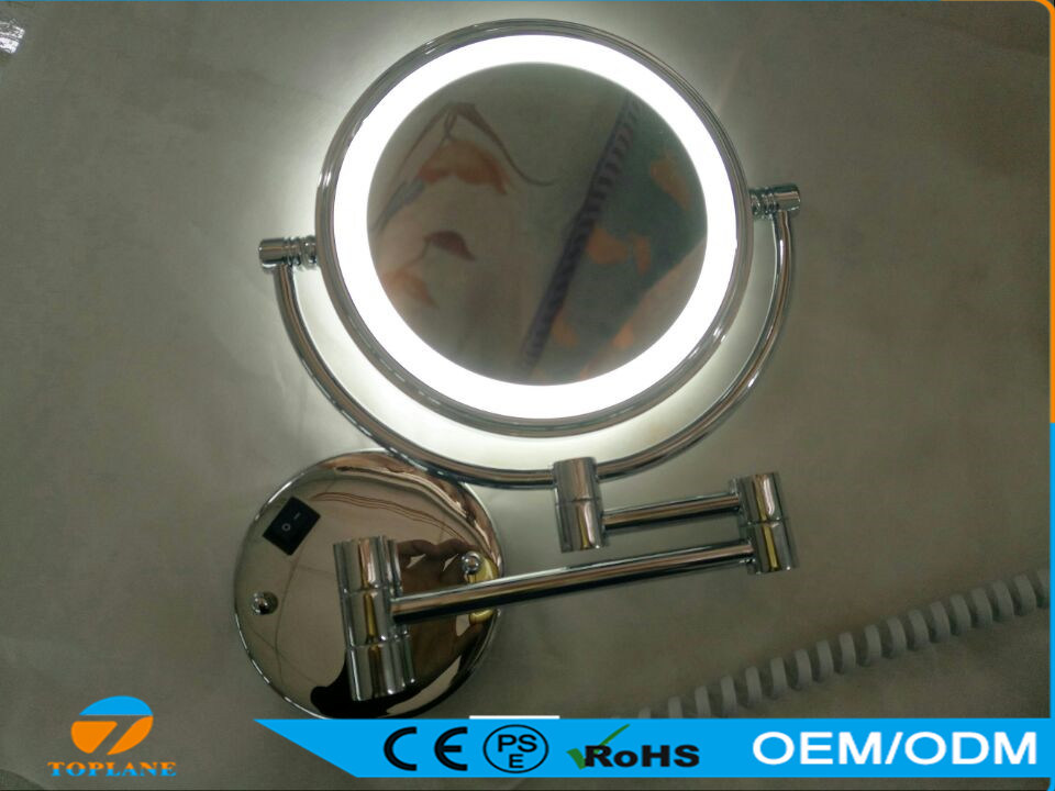Double Sides LED Round Chrome Bathroom Wall Mirror