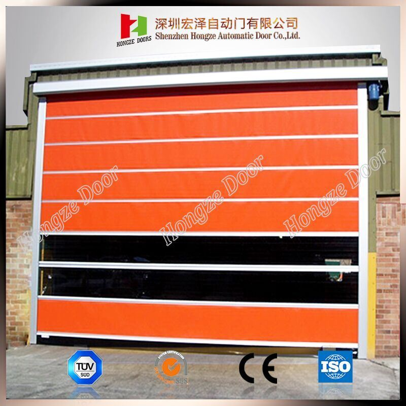 Interior Automatic Industrial Open Style Fast Rolling Exterior Position PVC Door (Hz-FC028)