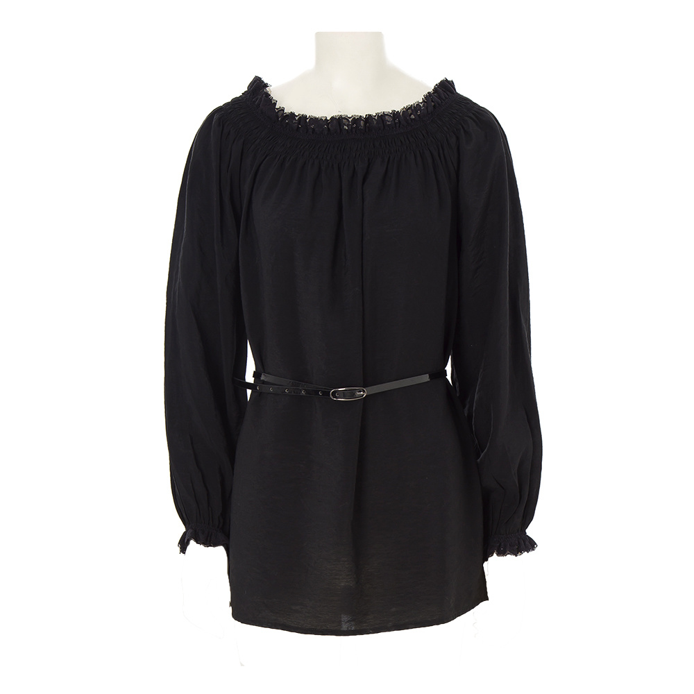 Black Cotton Lace Tunic Casual Sexy Lady Blouse