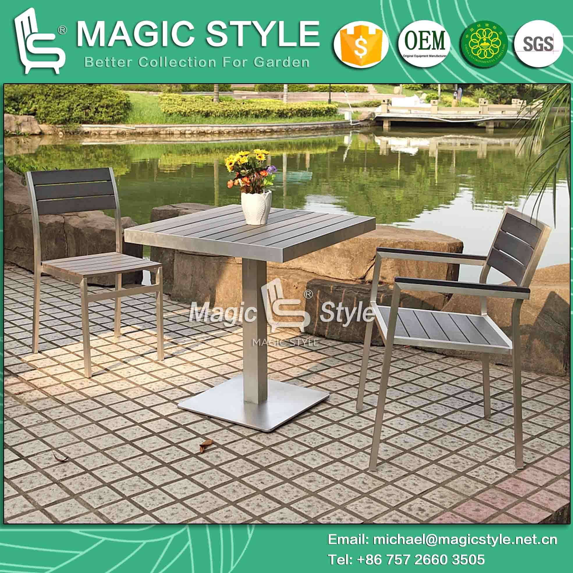 Outdoor Dining Set Aluminum Chair Aluminum Drawing Chair Poly Wood Chair  Cafe Set Hotel Project Garden