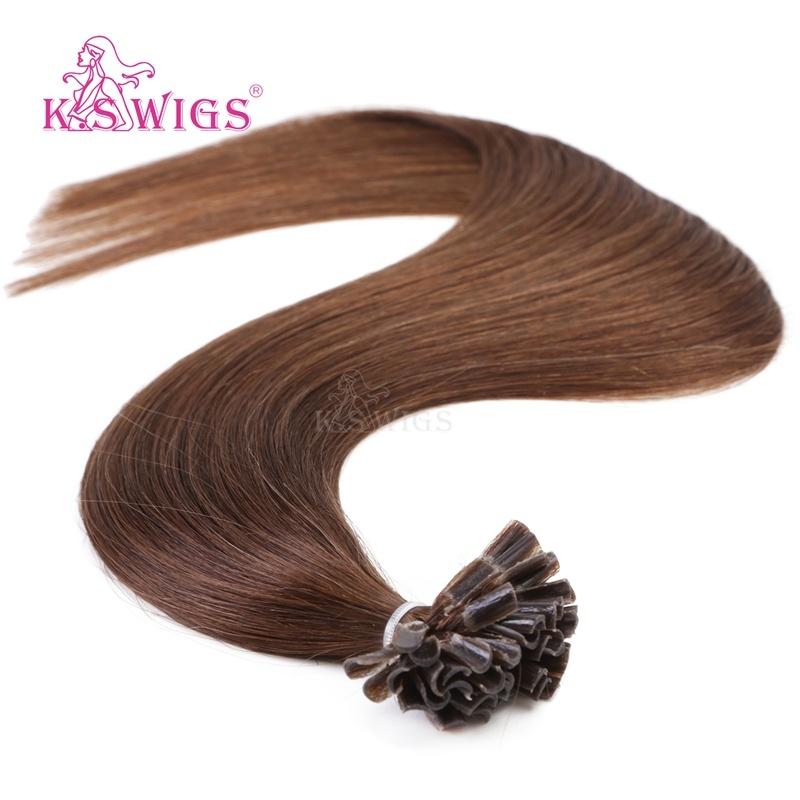 K. S Wigs European Remy Human Hair Extensions Keratin Nail Tip Hair Extensions