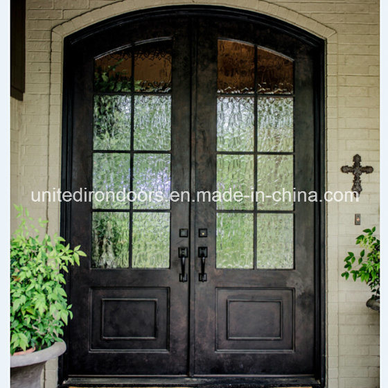 Wholesale Eyebrow Arched Top Wrought Iron French Door (UID-D014)