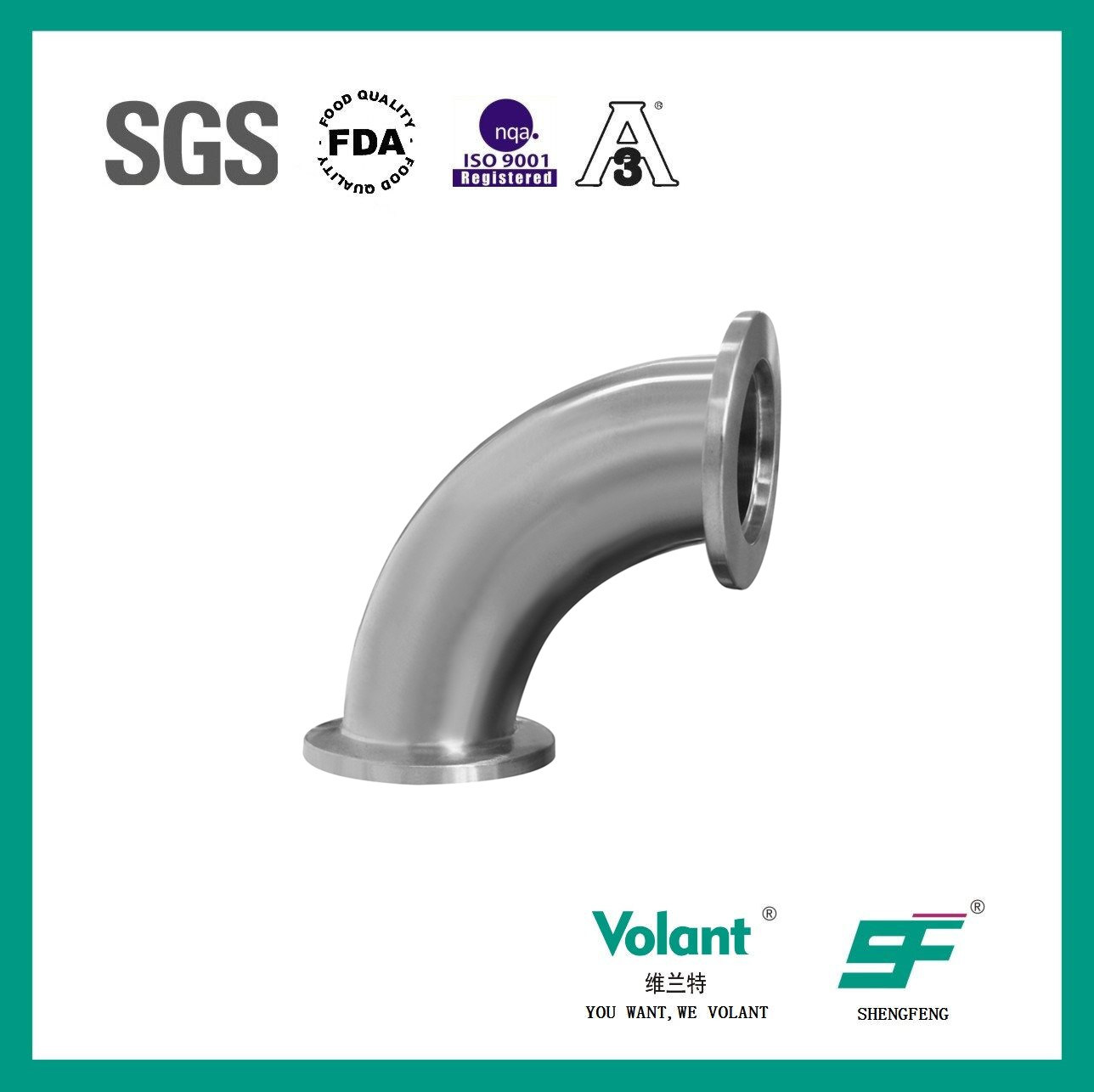 Stainless Steel Sanitary 90d Bend Elbow with Clamp (SF1000034)