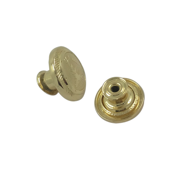 Donguan Supplier Custom Embossed Gold Metal Jeans Button (JH0223)