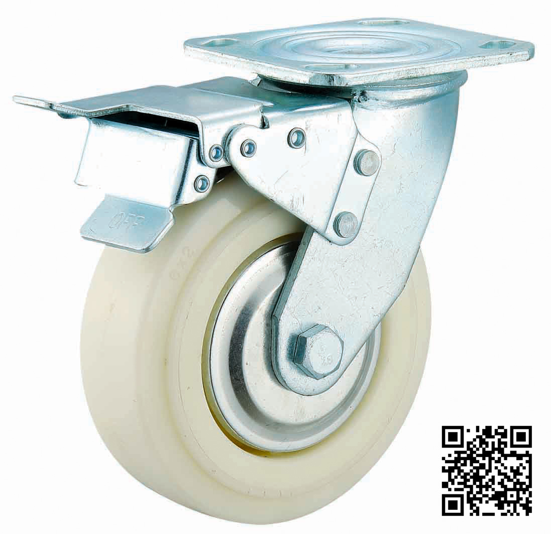 4/5/9/8 Inch Heavy Duty White Nylon Caster with Brake