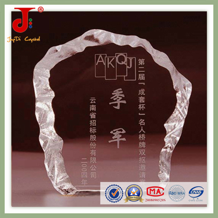 Clear Hexagon Blank Block Crystal for Customized VIP Award (JD-CB-307)