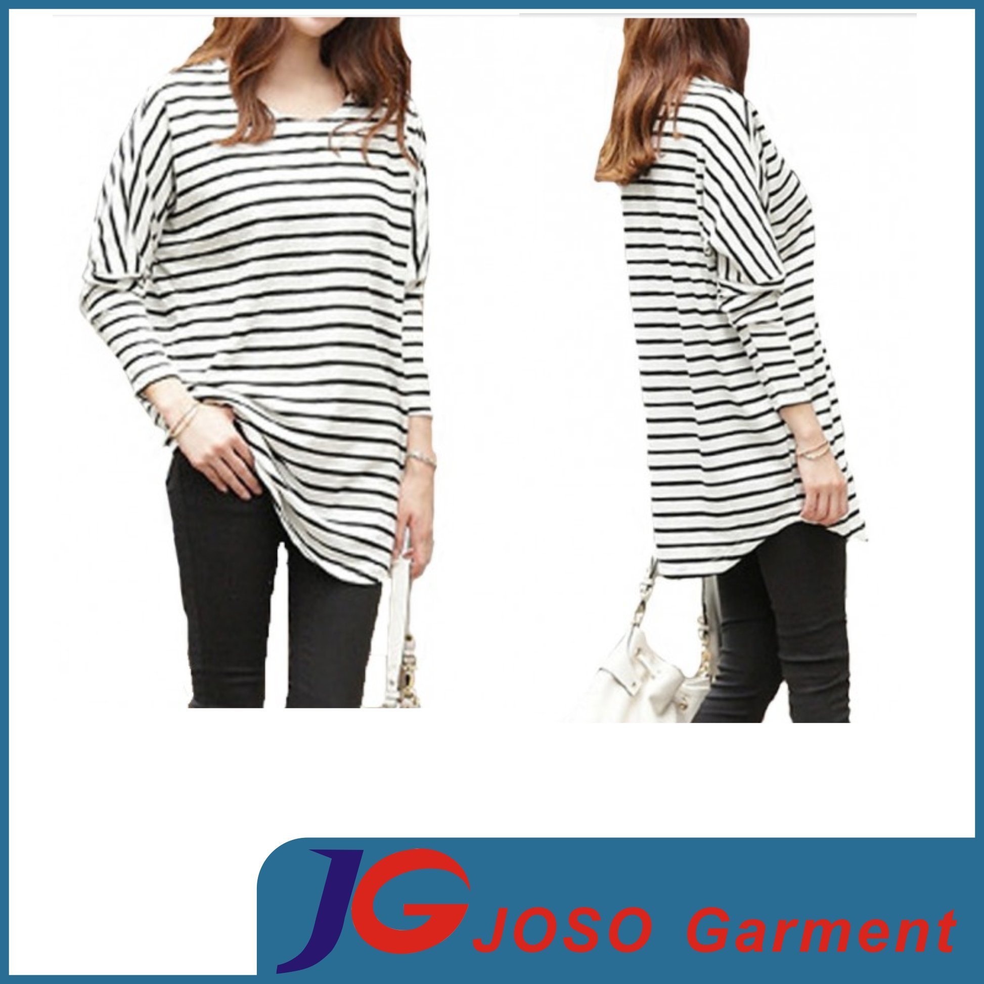 Lady Long Sleeves Clothes Strip T -Shirt Dress (JS9010)