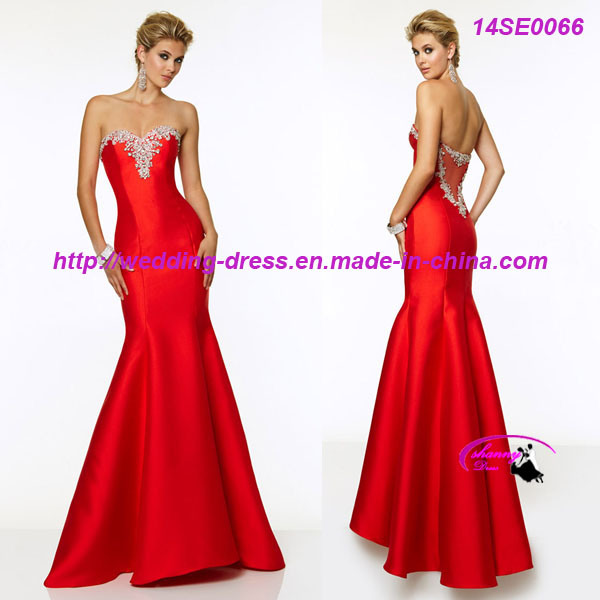 Hot Sale Red Stain Mermaid Prom Dress with Beading