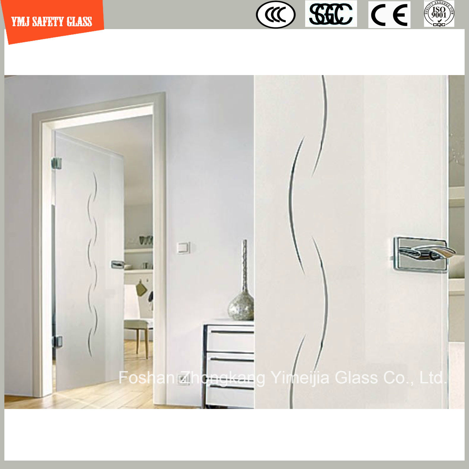 Anti-Fingerprint Acid Ethced Tempered Glass Shower Door