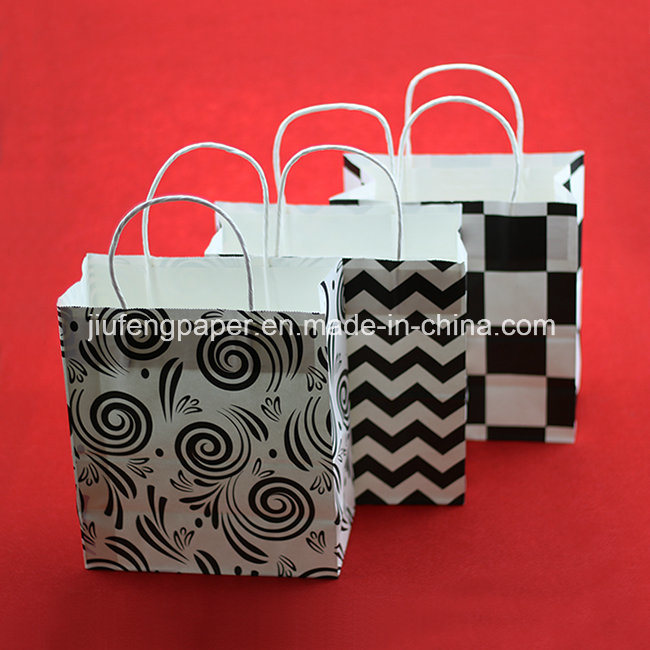 Printed White Kraft Paper Handbag