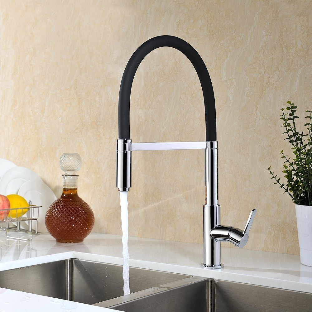 Kitchen Faucet, Commercial Style Kitchen Sink Faucet with Hot and Cold Water, Chrome Finish