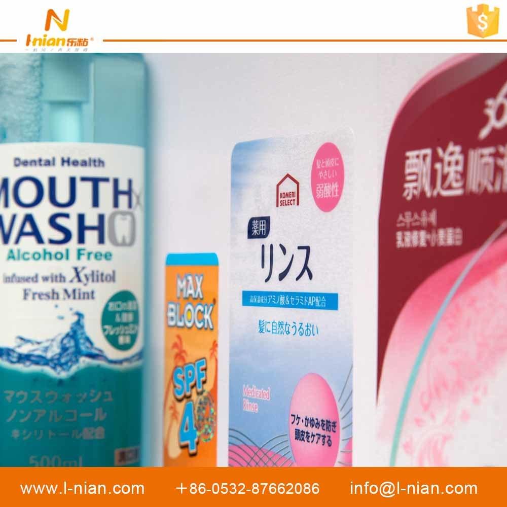 Custom Printed Waterproof Transparent Adhesive Label for Plastic Shampoo Bottles