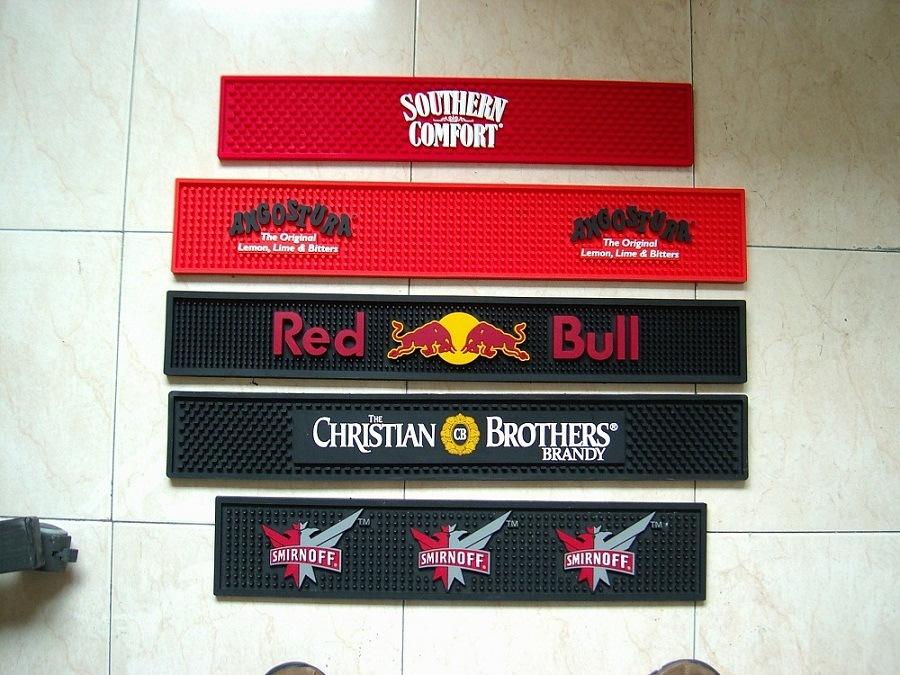 Custom Design Logo Embossed Soft PVC Bar Mat
