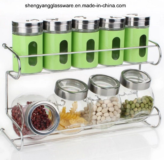 9 PC Spice Glass Bottle Set with Metal Shelf