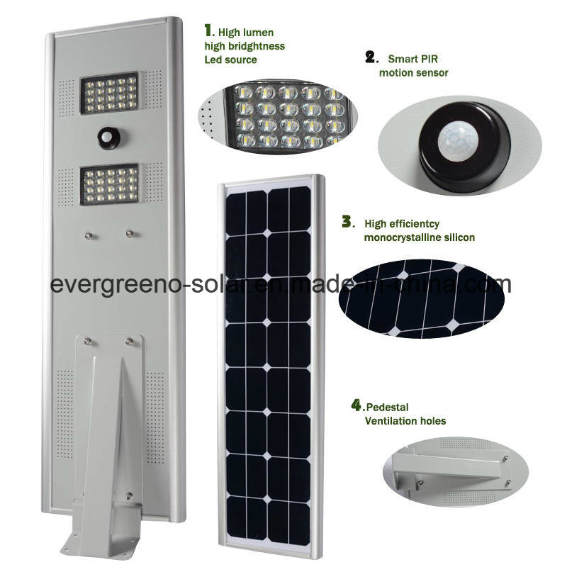 LiFePO4 Battery Integrated Solar Smart LED Street Light All in One Work From Dusk to Dawn