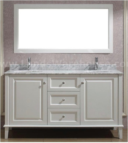 Double Bathroom Vanities on 62 8  Double Sinks Ivory Color Wooden Bathroom Vanity Cabinets  58264