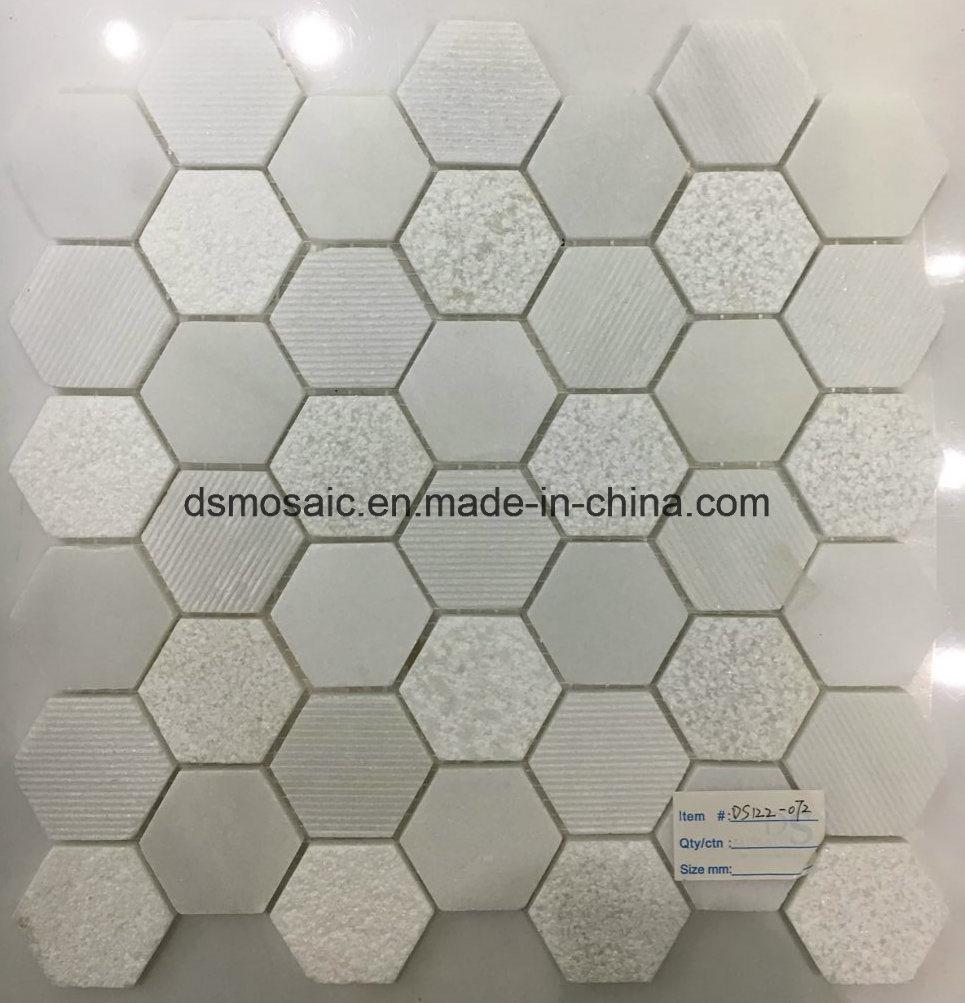 Crystal White Hexagon Marble Mosaic Tile
