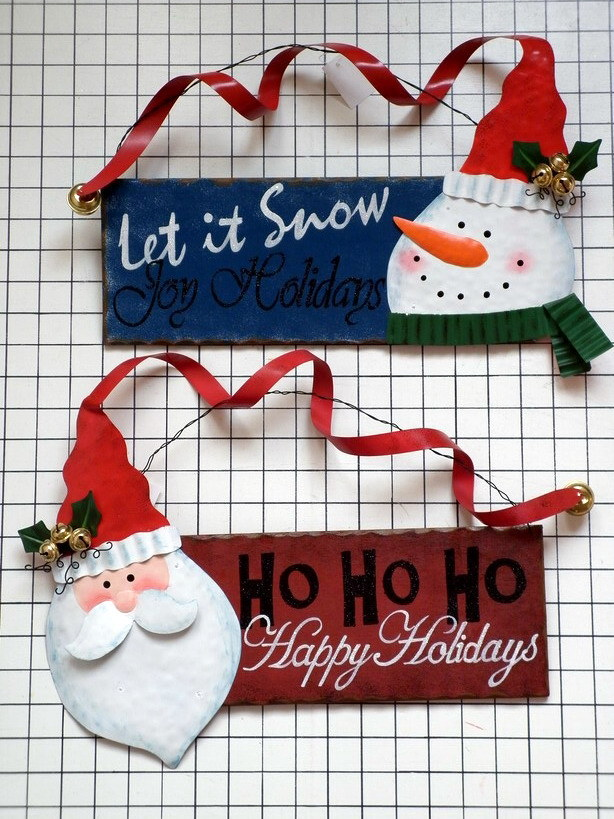 "15.5""Christmas Santa & Snowman Plaque (JHA-11056AB)"