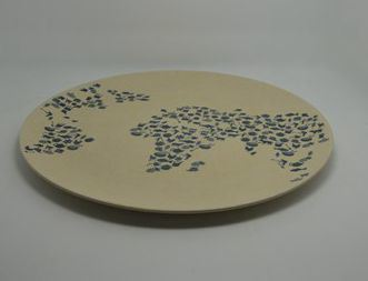 Eco-Friendly Bamboo Fiber Kitchenware Print Round Plate (YK-P3002)