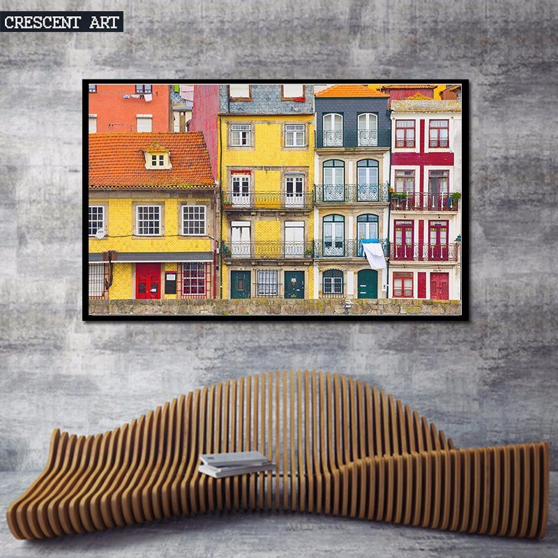 Realism colorful City House Canvas Print