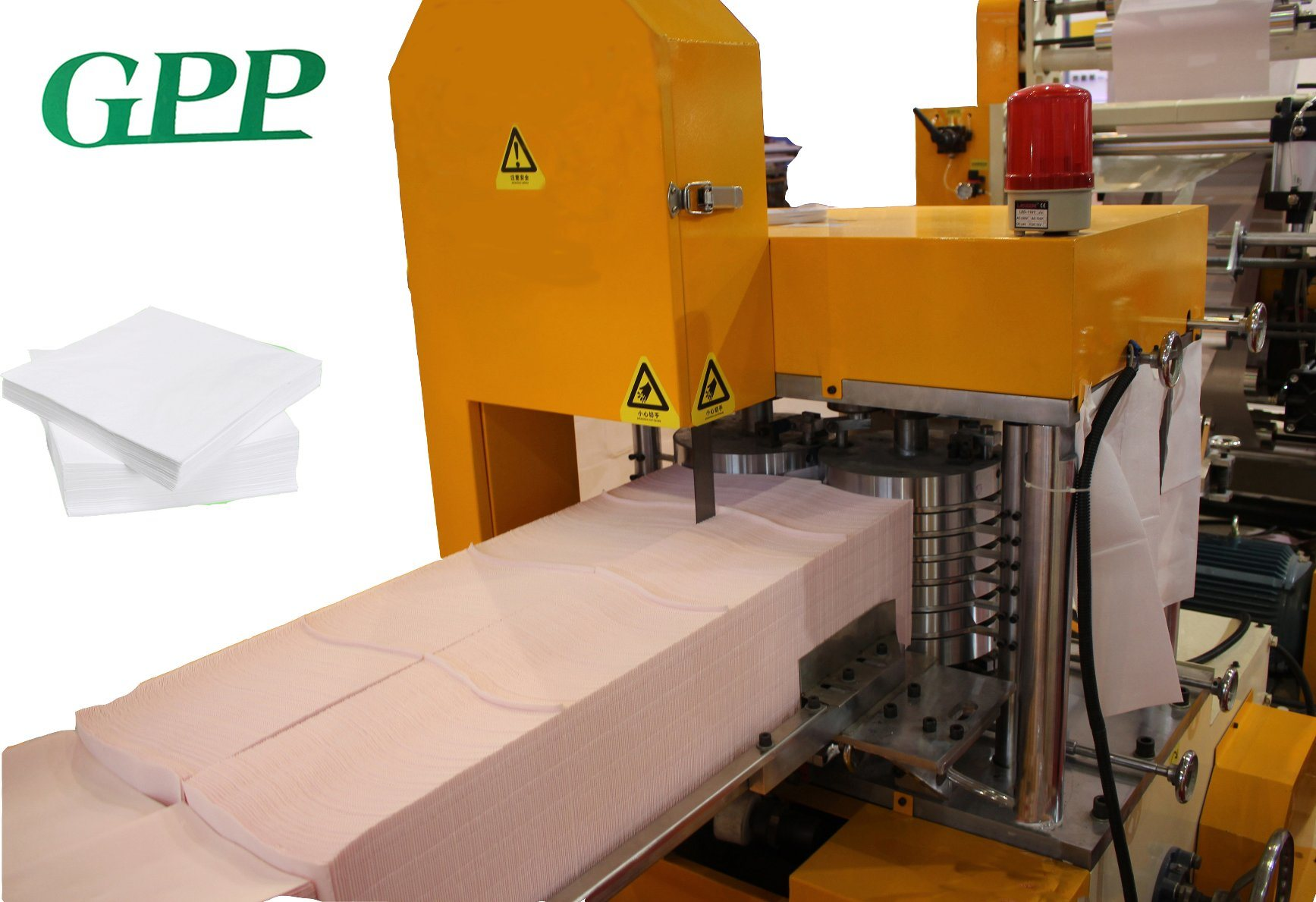 Automatic on The Glue and Color Embossing Lunch Napkin Folding Machine