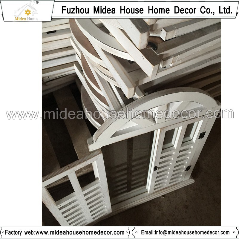 Antique Vintage White Handmade Decorative Wooden Window Shutter Mirror
