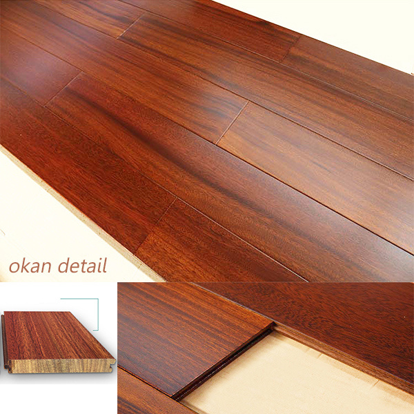 Okan Hardwood Flooring/Solid Wooden Flooring with Red Color