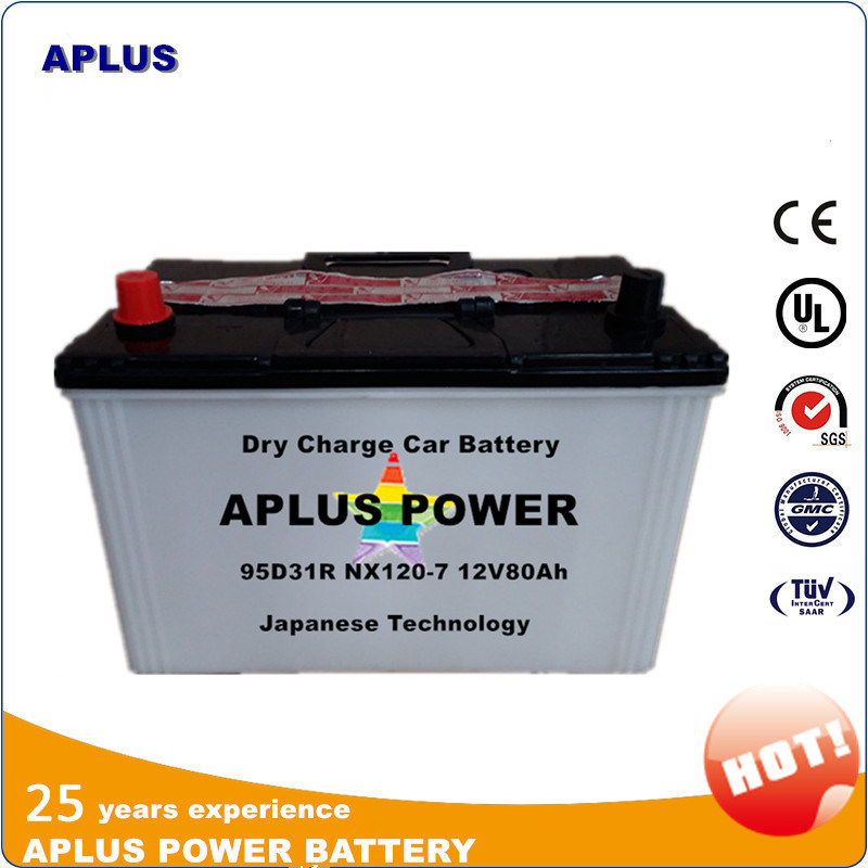 Hot Sale JIS Dry 12V Car Batteries 80ah 95D31r Nx120-7