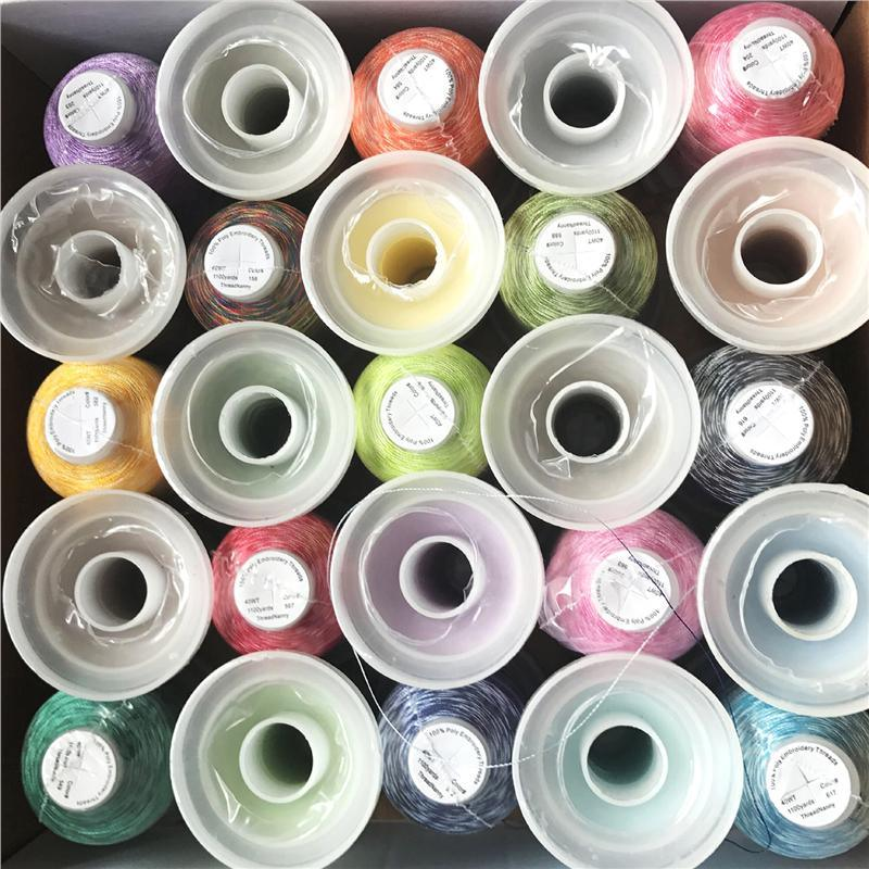 40W Multi-Color 100% Viscose Embroidery Thread 1000mts