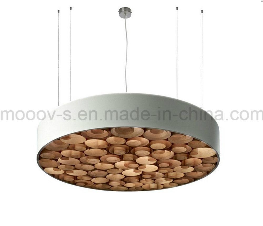 Handcraft Circular Disk Wood Working Honeycomb LED Pendant Light