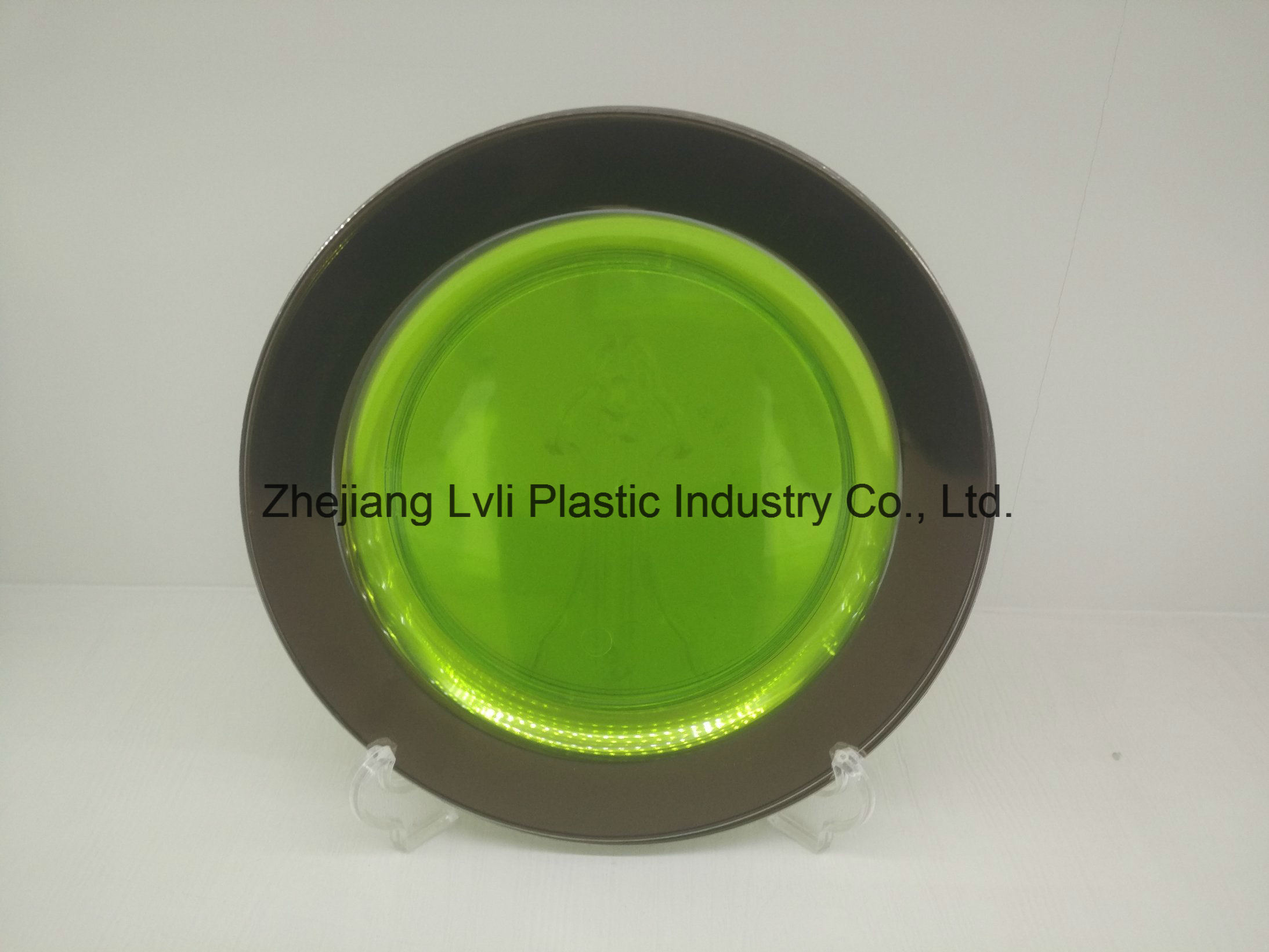 Plastic Plate, Disposable, Tableware, Tray, Dish, Colorful, PS, SGS, Silver Rim Plate, PA-02